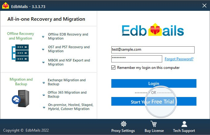 Demo login EdbMails