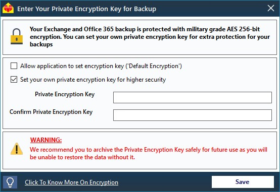 Encryption key settings