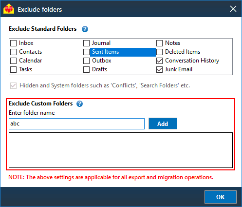 Exclude custom folders