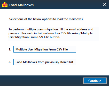 load mailboxes for migration
