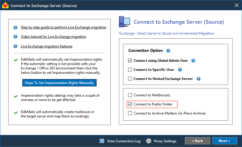 Source Exchange Server Conection
