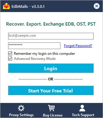 OST to PST recovery tool login window