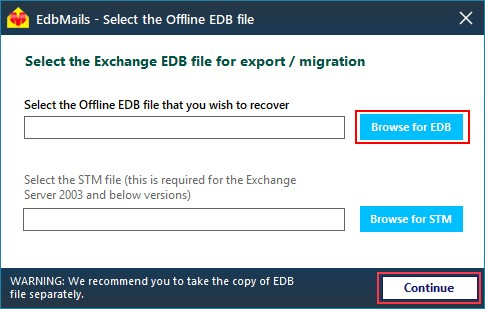 Choose EDB file for Conversion