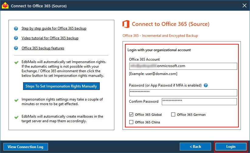 Login to Source Office 365 Backup