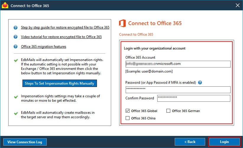 Login to Office 365 to Restore