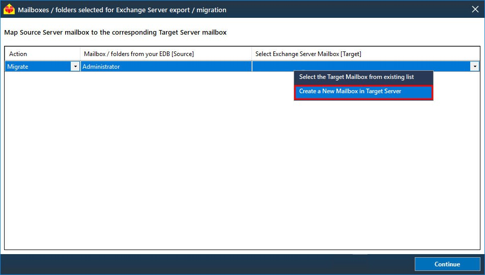 Create new mailbox in target server