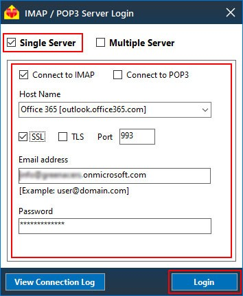 Choose IMAP login