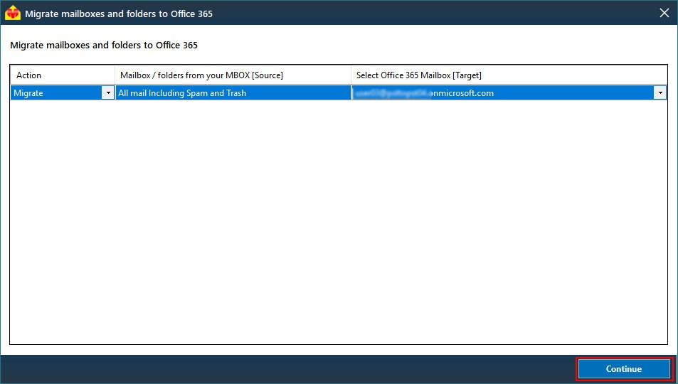 MBOX to Office 365 mailbox mapping