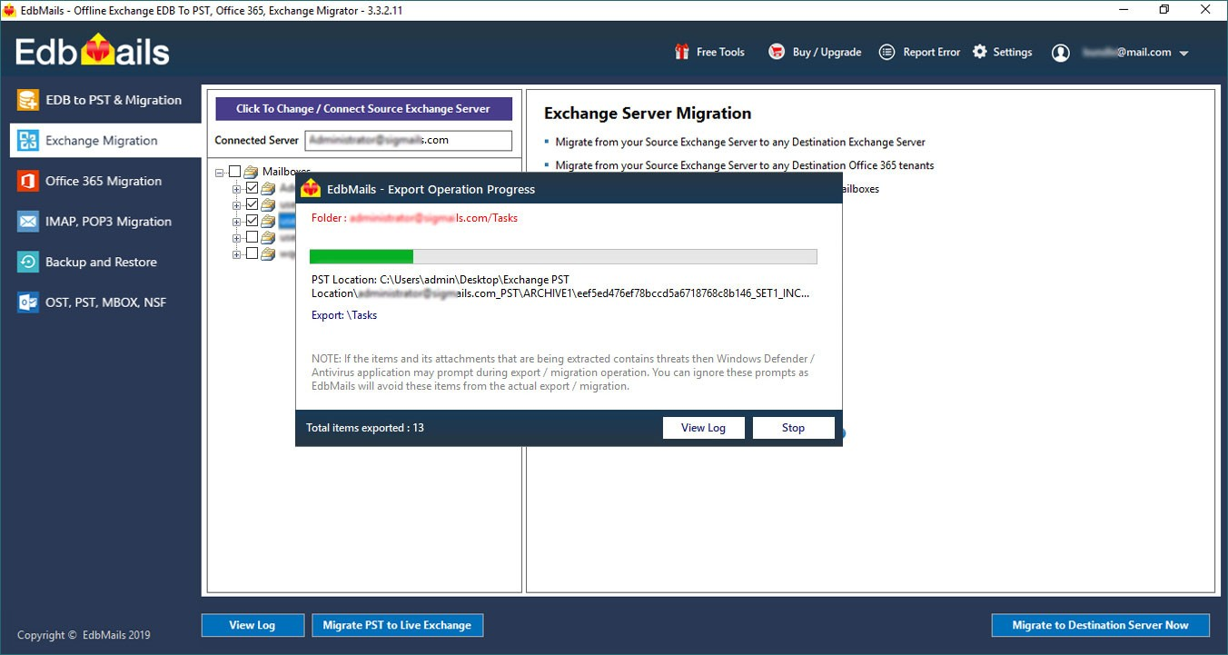 Migrate Live Exchange to Live Exchange Progress
