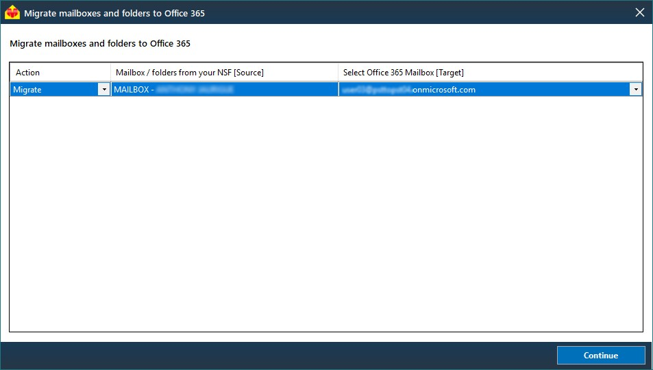 NSF to Office 365 mailbox mapping