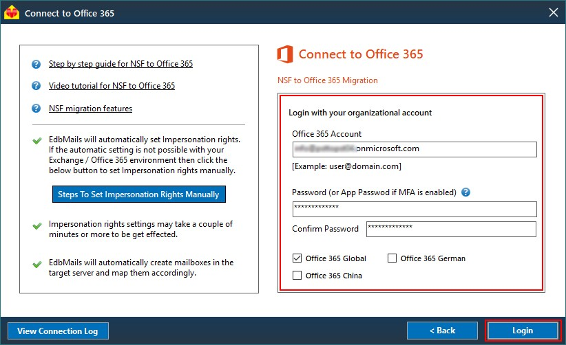 Login to Office 365