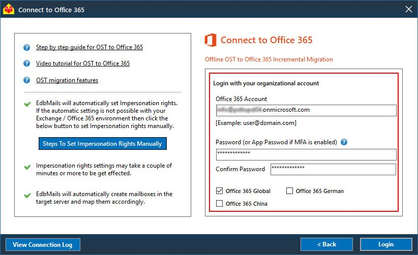 OST Office 365 login