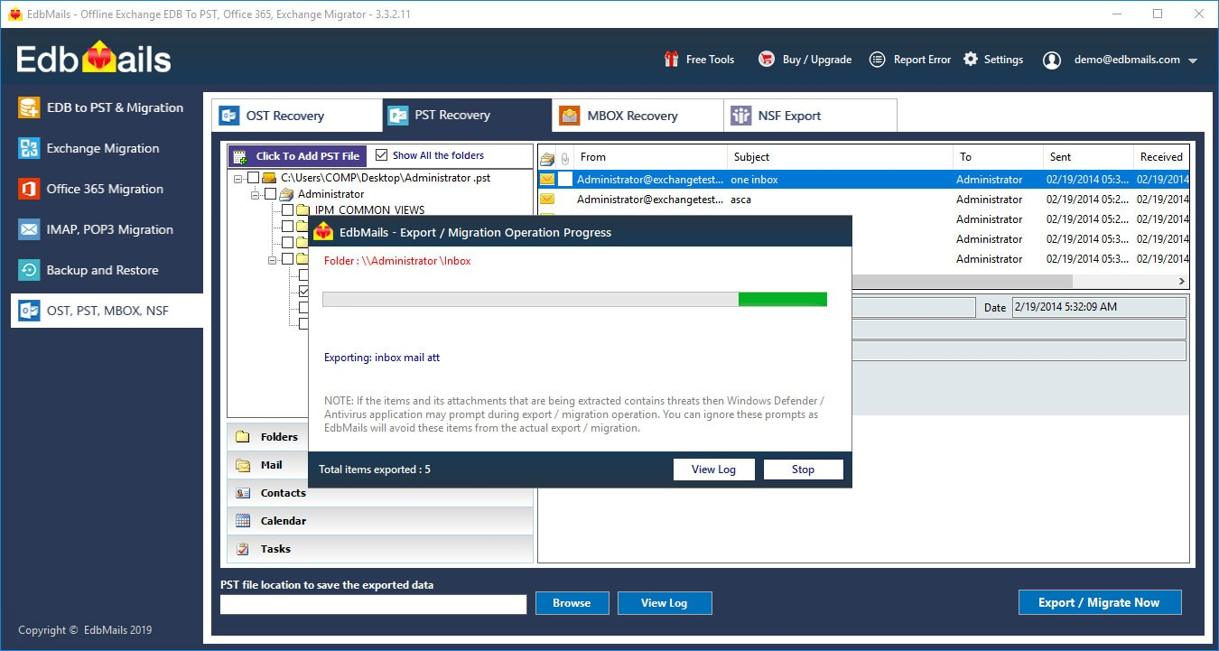 Outlook PST repair tool progress