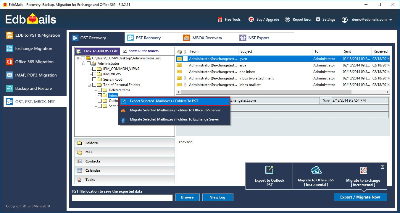 OST to PST recovery tool ost export option