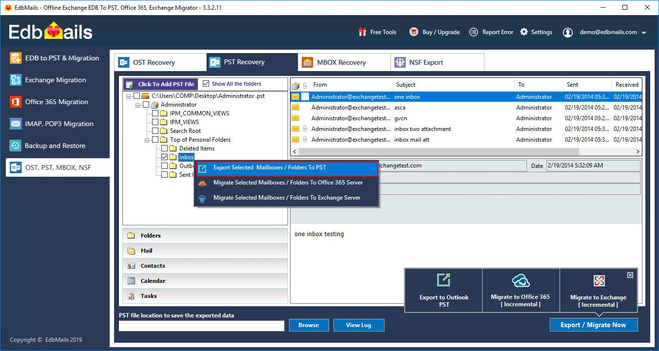 Outlook PST repair tool select pst