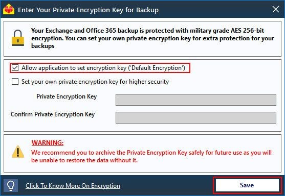 Select the Encryption Key Options