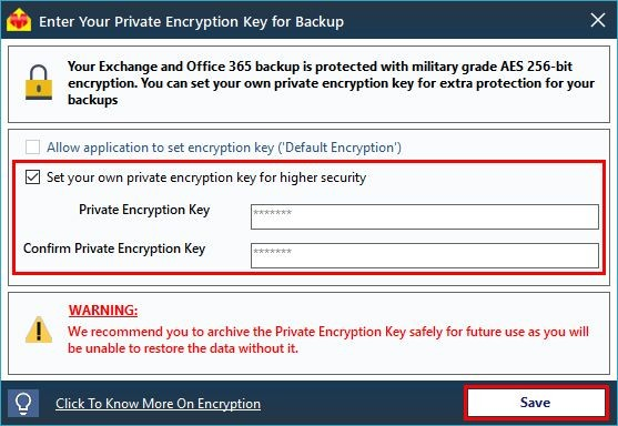 Backup Encryption Key