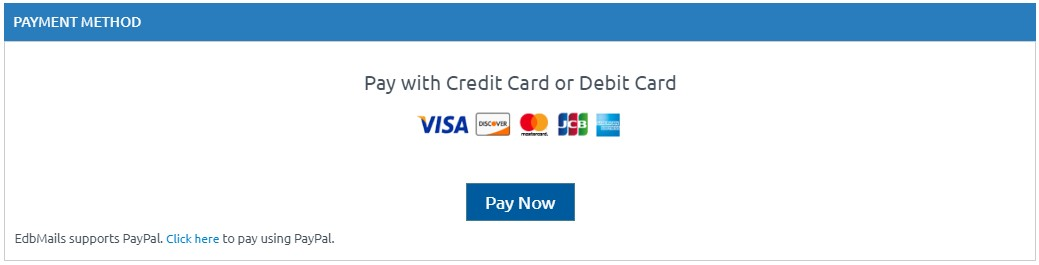 Pay with credit card / debit card