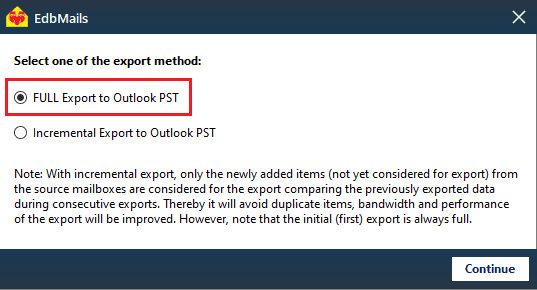 Select the Export Method