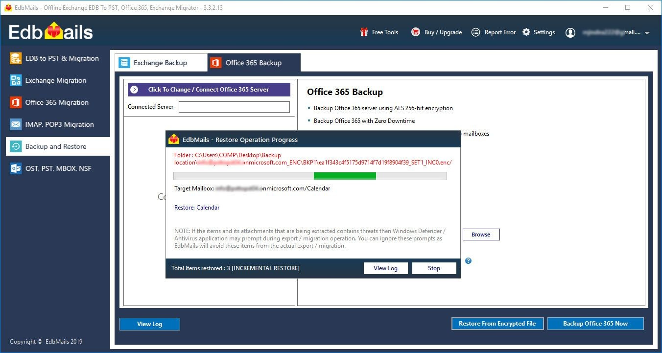 Office 365 Restore Progress