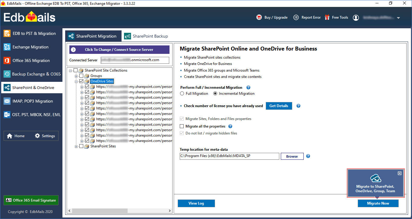 Migrate to SharePoint, OneDrive, Group, Team